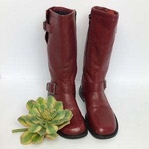 Seychelles red leather moto boot